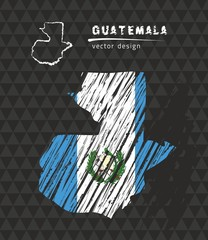 Guatemala map with flag inside on the black background. Chalk sketch vector illustration