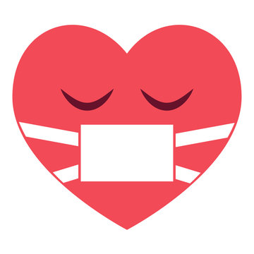 Herz Emoji krank - Maske
