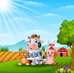 Happy little animals in the farm