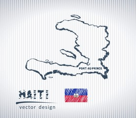 Haiti vector chalk drawing map isolated on a white background