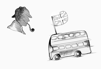 Sketch silhouette of Sherlock Holmes and English bus on white background.