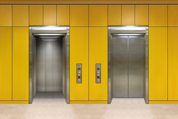 Chrome metal office building elevator doors. Open and closed variant. Realistic vector illustration yellow wall panels office building elevator.