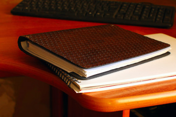notepad on the desk, office work, lifestyle close-up