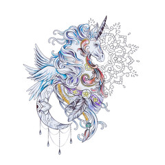 Sketch of a beautiful pegasus in patterns on a white background.