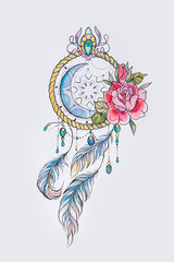 Sketch of a beautiful dreamcatcher with flowers on a white background.