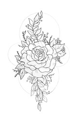Sketch of peony in beautiful patterns on a white background.