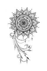 Sketch of a beautiful pattern with a mandala on a white background.