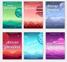 Thin line set of colorful covers with different planets and Around Universe headline concept.  Vector flat outline design illustration