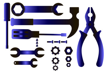 Large set of tools icons - construction, car repair