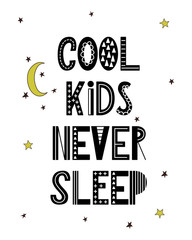 Cartoon nursery poster for kids. Scandinavian lettering quote