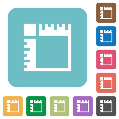 Canvas rulers rounded square flat icons