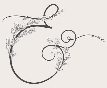 Vector Hand Drawn Flowered Ampersand monogram and logo
