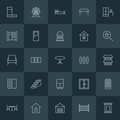 Modern Simple Set of buildings, furniture Vector outline Icons. ..Contains such Icons as  home,  modern,  architecture,  wardrobe, london and more on dark background. Fully Editable. Pixel Perfect.