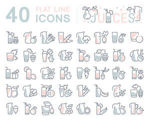 Set Vector Line Icons of Juices.