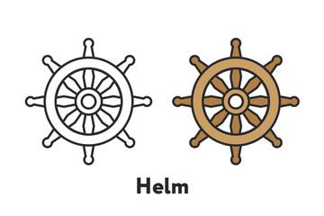 Controlling Boat Helm Rudder Wheel Minimal Color Flat Line Outline Stroke Icon
