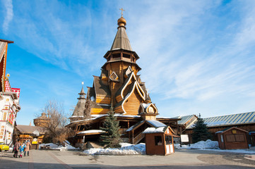 Church of St. Nicholas in medieval style, the highest wooden temple of Russia in the inner yard of Izmailovo Kremlin, Moscow.