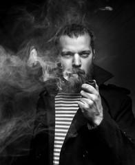 Sailor Man With Beard Smoking Pipe, Black And White Photo. Creativity Professional Portrait