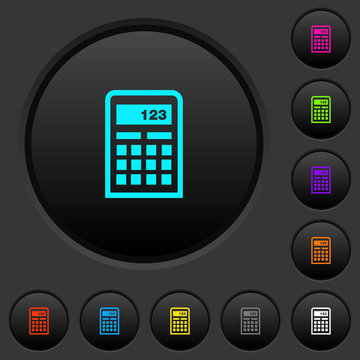 Scientific calculator dark push buttons with color icons