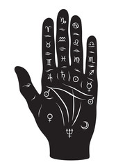 Palmistry or chiromancy hand with signs of the planets and zodiac signs black and white hand drawn design isolated vector illustration.