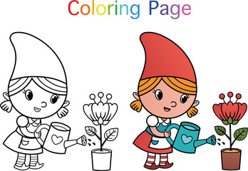 Cartoon Gnome Character For Coloring Page Activity. (Vector illustration)