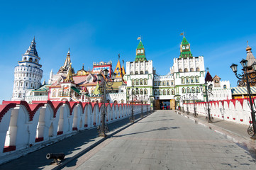 The Izmailovsky Kremlin museum complex seen from the stone bridge in Moscow, Russia.