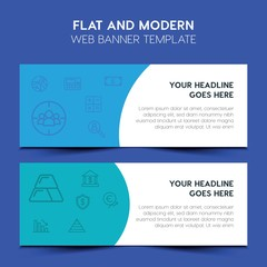 business, money Flat Design Concept with outline icons. Modern Vector Web Banners