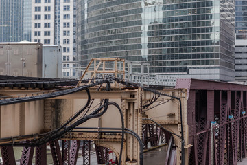 Closeup of steel tracks in an urban area
