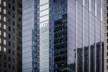 Close up of glass buildings