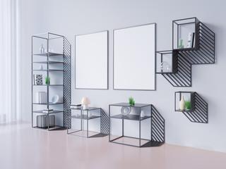 mock up poster frame and white , 3D illustration