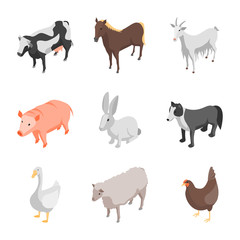 Farm Animals 3d Icons Set Isometric View. Vector