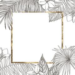 Summer tropical leaves vector design. Floral background illustration. Invitation or card design with jungle leaves.