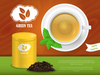 Realistic Detailed 3d Green Tea Ads. Vector