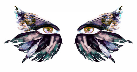 Golden brown fairy eyes with makeup, dark green, blue and sepia wings of butterfly shape eyeshadows, hand painted watercolor fashion illustration isolated on white background