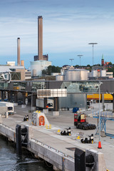 oil fuel tanks and containers in port of Stockholm
