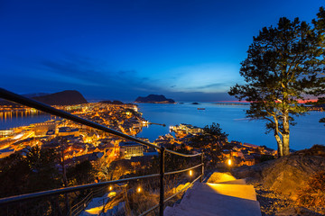 Stairs from the view point in of Alesund town at night, Norway