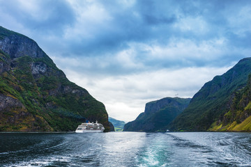 Cruise Ship in Geiranger fjord. Norway