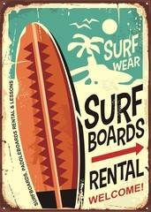 Surfboards rentals retro tin sign design on old rusty background. Tropical paradise poster.