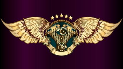 Winged engine golden emblem