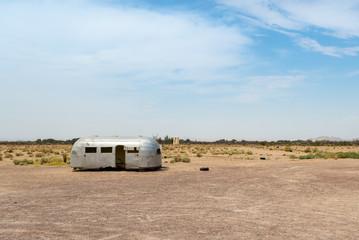 Abandoned trailer in the desert