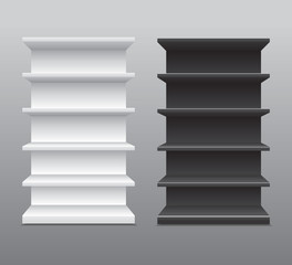 Black & White Long Blank Empty Showcase Displays With Retail Shelves Products ,  Background Isolated.