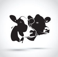 set of two abstract cow heads