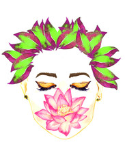 Face with closed eyes with golden makeup , pink lotus flower holding by lips, floral purple and green leaves hairstyle, hand painted watercolor fashion illustration isolated on white