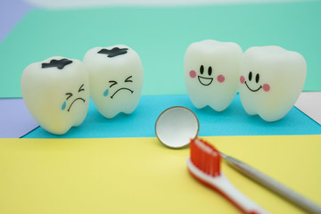 Model Cute toys teeth in dentistry on colorful pastel paper for background .