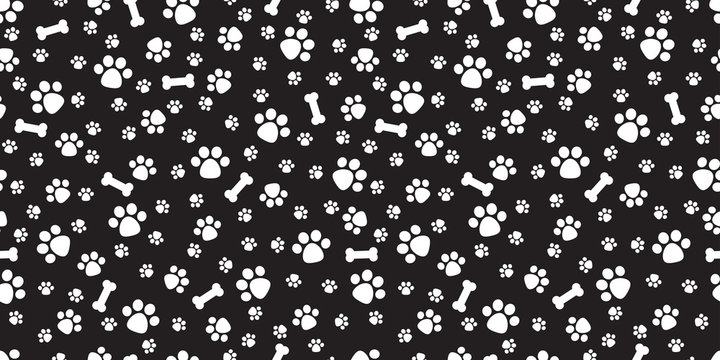 Dog Bone Seamless pattern vector dog paw doodle isolated background wallpaper