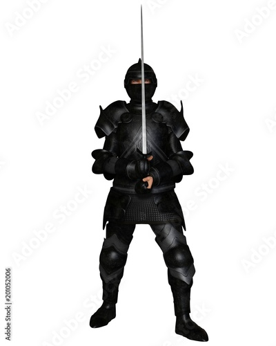 """Black knight in Medieval armour holding a sword - fantasy illustration"" Stock photo and royalty-free images on Fotolia.com - Pic 201052006"