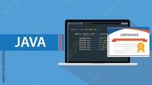 java programming language certificate with laptop and code