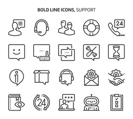 Support, bold line icons