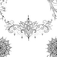 Seamless pattern of beautiful mandala with ornament on white background.