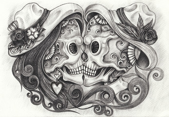 Art Design Kiss Couples Skull Day of the dead. Hand pencil drawing on paper.