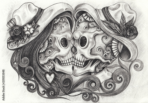 Art Design Kiss Couples Skull Day Of The Dead Hand Pencil Drawing On Paper